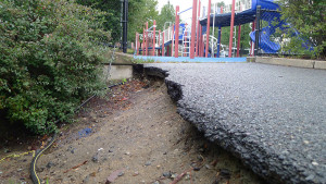 Eroded walkway at the Brooks Elementary School